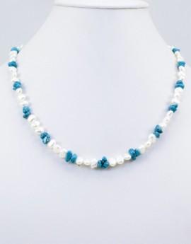 Náhrdelník říční perly a tyrkys
